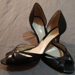 9.5 Black Ann Taylor Leather Open-toe, Peep-Toe